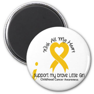 I Support My Brave Little Girl Childhood Cancer 6 Cm Round Magnet
