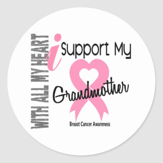 I Support My Grandmother Breast Cancer Classic Round Sticker