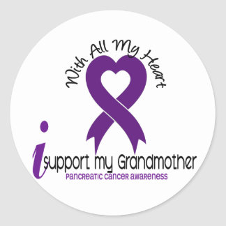 I Support My Grandmother Pancreatic Cancer Round Sticker