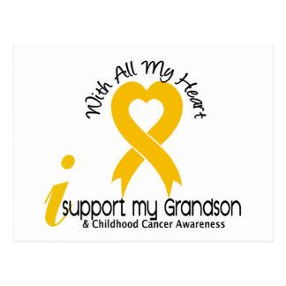 I Support My Grandson Childhood Cancer Postcard