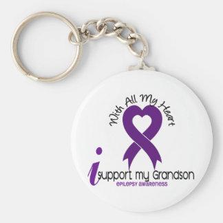 I Support My Grandson Epilepsy Basic Round Button Key Ring