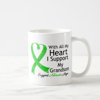 I Support My Grandson With All My Heart Basic White Mug