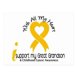 I Support My Great Grandson Childhood Cancer Postcard