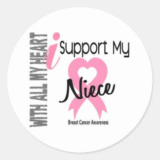 I Support My Niece Breast Cancer Round Sticker
