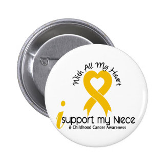 I Support My Niece Childhood Cancer 6 Cm Round Badge