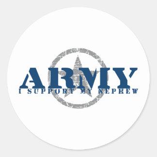 I Support Nephew - ARMY Round Sticker