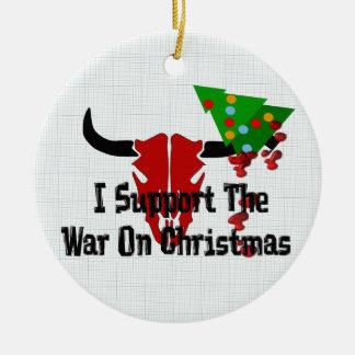 I Support War On Christmas Round Ceramic Decoration