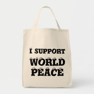 I SUPPORT WORLD PEACE Grocery Bag, Inspirational