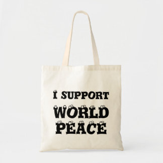 I SUPPORT WORLD PEACE Tiny Tote Bag, Inspirational