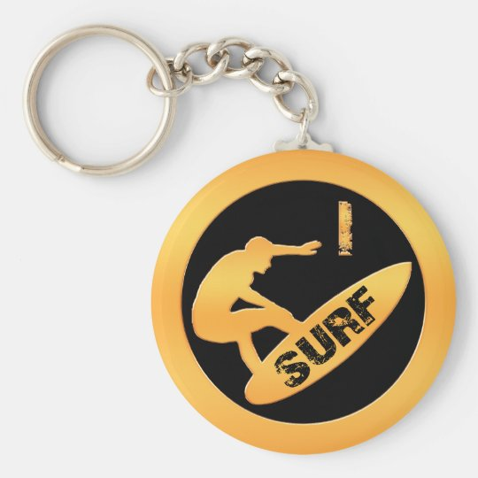 I Surf Basic Round Button Key Ring