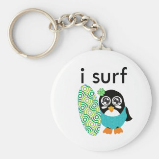 I Surf Penguin Basic Round Button Key Ring