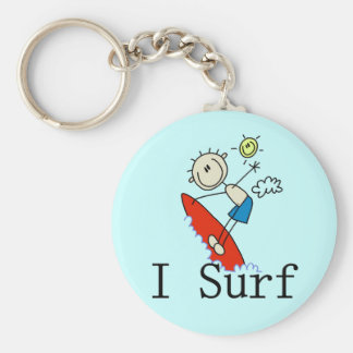 I Surf T-shirts and Gifts Basic Round Button Key Ring