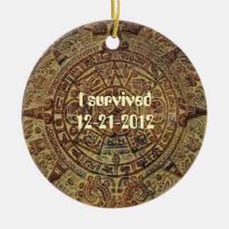 I survived 12-21-2012 Mayan Calendar Ornament Round Ceramic Ornament