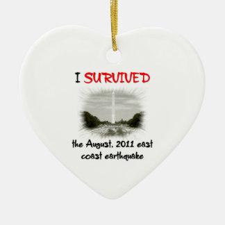 I Survived 2011 East Coast Earthquake Ceramic Heart Decoration