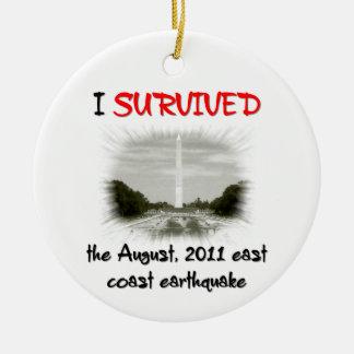 I Survived 2011 East Coast Earthquake Round Ceramic Decoration