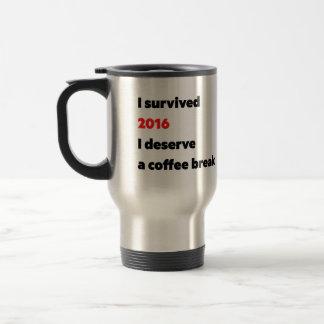 """I survived 2016"" travel mug"