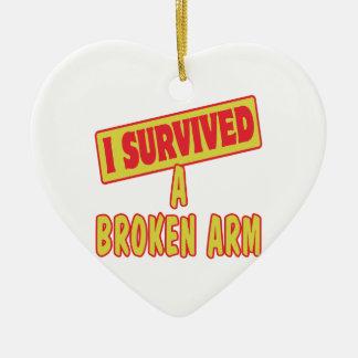 I SURVIVED A BROKEN ARM CERAMIC HEART DECORATION