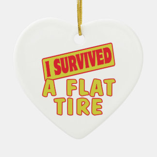 I SURVIVED A FLAT TIRE CERAMIC HEART DECORATION