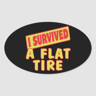 I SURVIVED A FLAT TIRE OVAL STICKERS