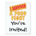 I SURVIVED A FOOD FIGHT 11 CM X 14 CM INVITATION CARD