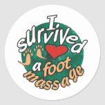 I survived a foot massage round stickers