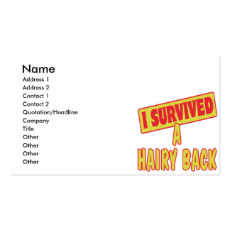 I SURVIVED A HAIRY BACK BUSINESS CARD TEMPLATES