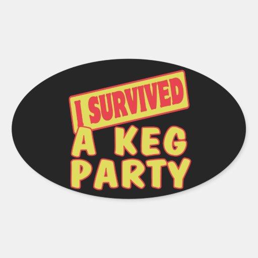 I SURVIVED A KEG PARTY OVAL STICKER