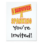 I SURVIVED A SPANKING 11 CM X 14 CM INVITATION CARD