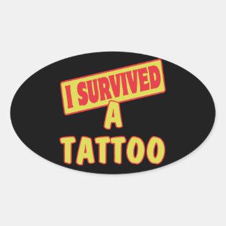 I SURVIVED A TATTOO OVAL STICKER