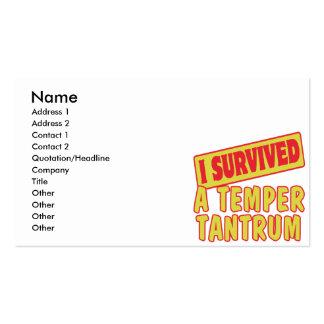 I SURVIVED A TEMPER TANTRUM PACK OF STANDARD BUSINESS CARDS
