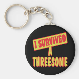 I SURVIVED A THREESOME BASIC ROUND BUTTON KEY RING