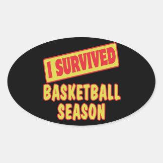 I SURVIVED BASKETBALL SEASON OVAL STICKERS
