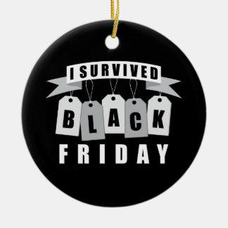 I Survived Black Friday Round Ceramic Decoration