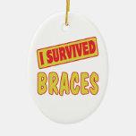I SURVIVED BRACES CERAMIC OVAL DECORATION