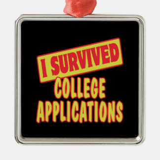 I SURVIVED COLLEGE APPLICATIONS Silver-Colored SQUARE DECORATION