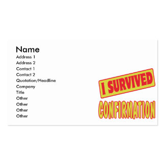 I SURVIVED CONFIRMATION BUSINESS CARD TEMPLATE