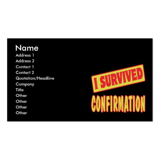 I SURVIVED CONFIRMATION BUSINESS CARD TEMPLATES