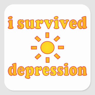I Survived Depression Mental Health Happiness Square Stickers