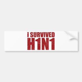 I SURVIVED H1N1 in distressed red Bumper Sticker