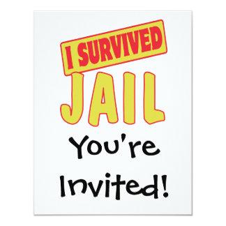 I SURVIVED JAIL 11 CM X 14 CM INVITATION CARD