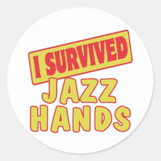 I SURVIVED JAZZ HANDS ROUND STICKERS