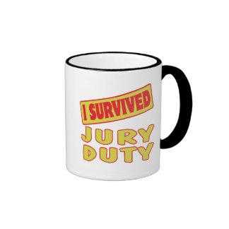 I SURVIVED JURY DUTY RINGER COFFEE MUG