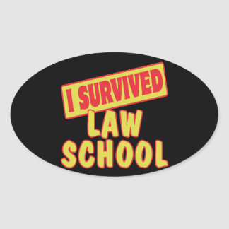 I SURVIVED LAW SCHOOL OVAL STICKER