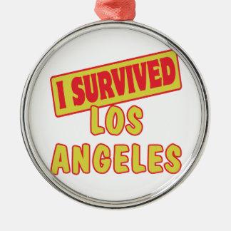 I SURVIVED LOS ANGELES LA Silver-Colored ROUND DECORATION