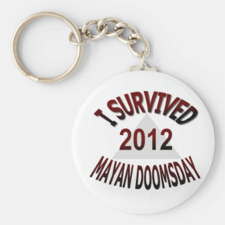 I Survived Mayan Doomsday 2012 Basic Round Button Key Ring