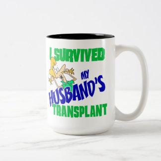I Survived My Husband's Transplant Two-Tone Coffee Mug
