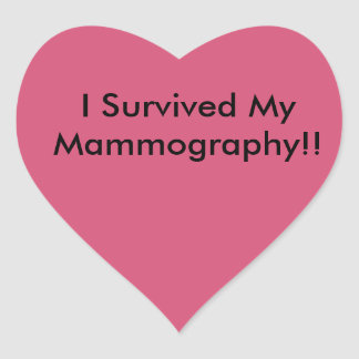 I survived my mammography! heart sticker