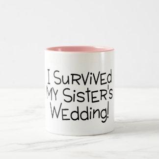 I Survived My Sister's Wedding Black Two-Tone Mug