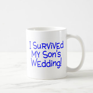 I Survived My Sons Wedding Blue Basic White Mug