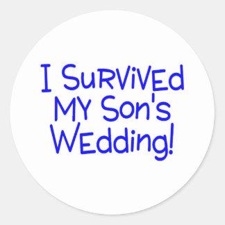 I Survived My Sons Wedding Blue Round Sticker